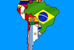South America Flag Map