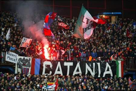 Italian football stadium where Catania ultras killed a police after battles outside