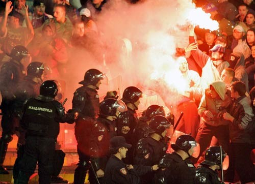 Football Hooligans and Ultras fight police football violence