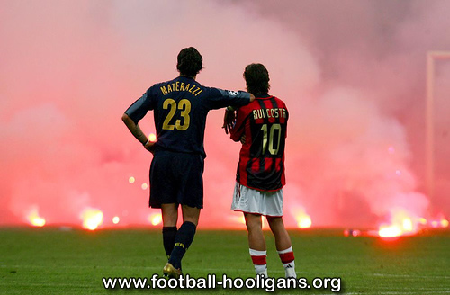 Inter v Milan hooligans throw flares during the 2005 Champions League Quarter Final